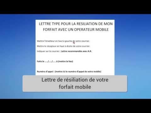 Lettre Type Résiliation Forfait Opérateur Mobile Youtube