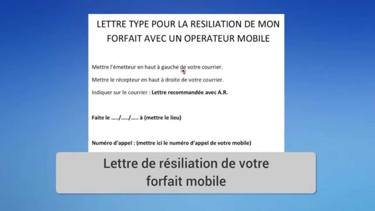 Lettre Type Résiliation Forfait Opérateur Mobile