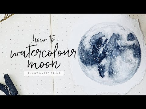 How To Paint a Watercolour Moon  |  Watercolour and Gouache Painting Process  //  PLANT BASED BRIDE