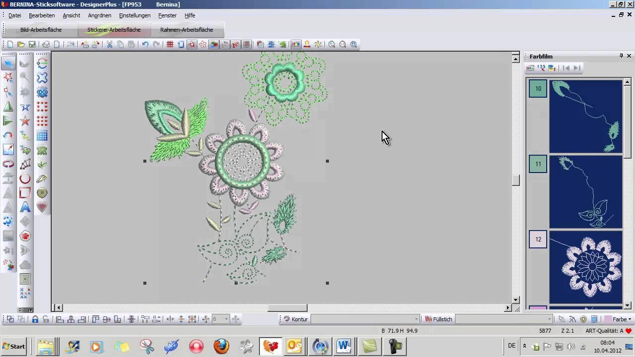 BERNINA Sticksoftware DesignerPlus V6: Stickmuster bearbeiten - YouTube