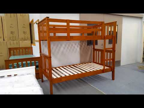 Bunk Bed Elsa Single Solid Wood in Antique Oak Colour Malaysian Made