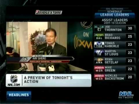 Ray Shero and Dan Bylsma on NHL Live 11-30-09 (Part 1)