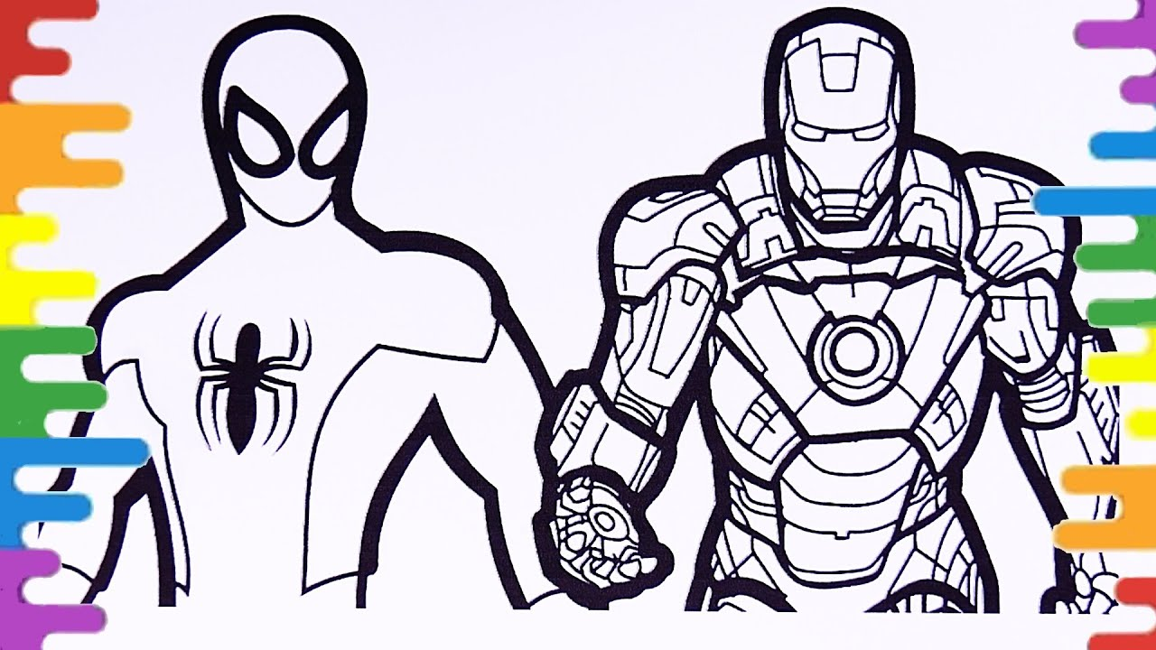 Avengers Coloring Pages Spiderman Coloring Page Iron Man With Spiderman Coloring Pages Youtube