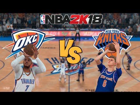 NBA 2K18 - Oklahoma City Thunder (MELO!) vs. New York Knicks - Full Gameplay