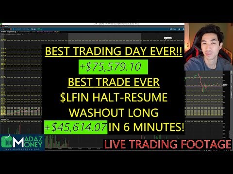 BEST TRADE EVER! +$45,614.07 on $LFIN in 6 Min Halt Resume Washout Long!