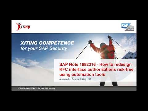 SAP Note 1682316 - How to redesign RFC interface authorizations risk-free using automation tools