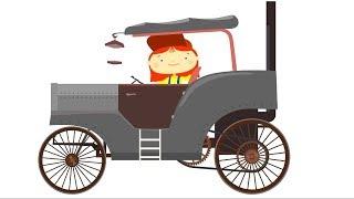 Arzt McWheelie - Baby-Karikatur. Eine Zeit-Maschine. Kinder-Fahrzeuge.