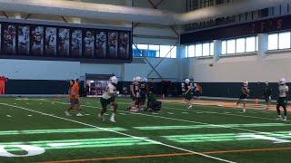 Miami Hurricanes' quarterbacks practice during last spring practice session