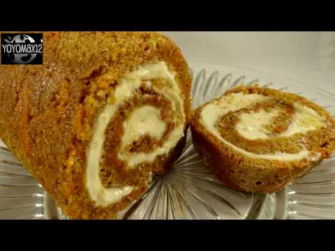 Unique recipe: Carrot cake roll with cream cheese frosting filling
