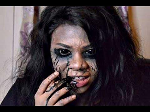 Creepy Black Eyes And Veins SFX Halloween Makeup 2015 - YouTube