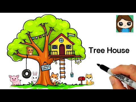 How to Draw a Tree House Easy 🌳🏠Cute Scenery Art