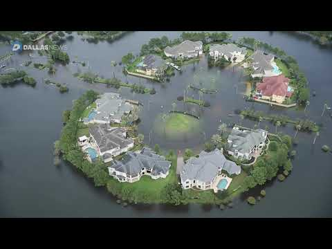 Flooding footage from high above the Houston area following Tropical Storm Harvey