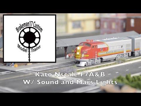 Kato N-scale EMD F7A&Bs (Mars Lights & Sound)