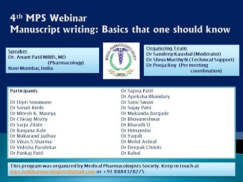 MPS Webinar:  Part 1 of 3 - Original Research Publication Writing by Dr Anant Patil