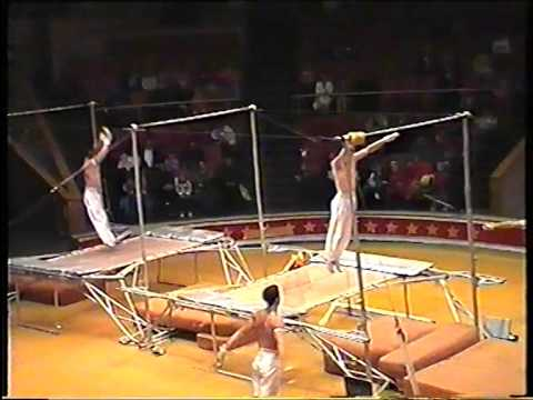 Aniskin group - gymnasts on horisontal bars with trampoline