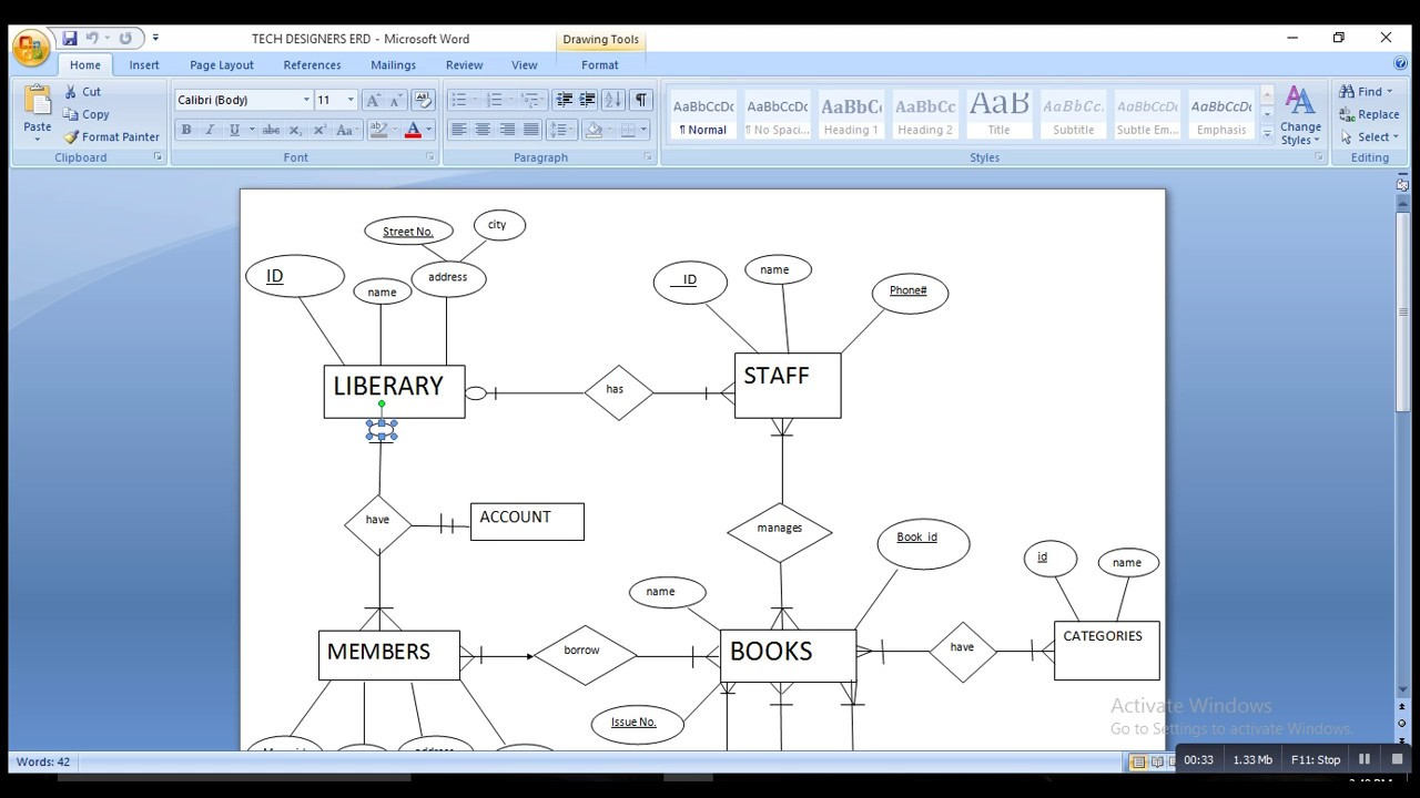 hight resolution of erd of library management system