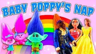 Trolls Movie Poppy & Branch put Baby Poppy to Sleep. Belle, Moana, Beast & Maui help by Singing!