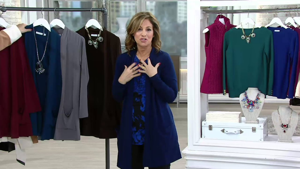 Qvc Masson Susan Graver Liquid Knit Open Front Cardigan With Pockets On Qvc