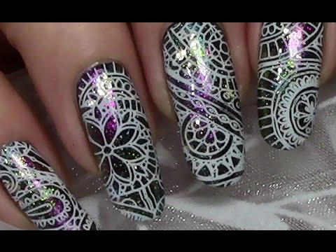Abstract Multichrome Stamping Nail Art Design Tutorial With Nail