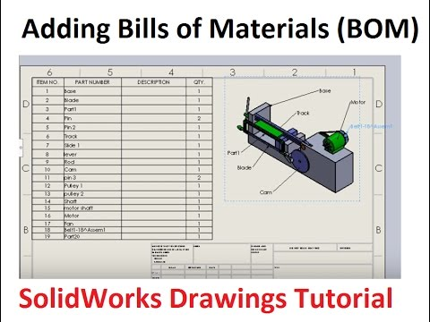 Adding Bill Of Materials Bom And Balloons Solidworks Drawings