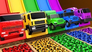 Learn Colors with PACMAN and Street Vehicle Surprise Soccer Ball in Magic Water Slide for Kids