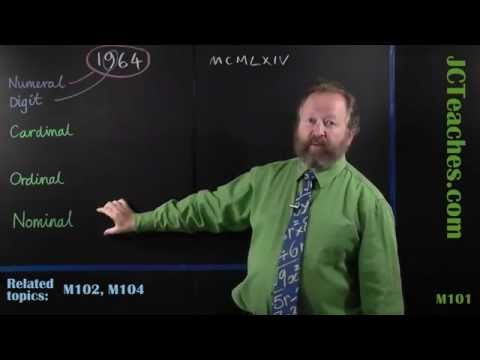 M101 Numerals and digits; Cardinal, ordinal and nominal numbers