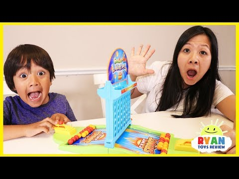 Ryan and Mommy Play Connect 4 Launcher Board Games for Family Game Night!