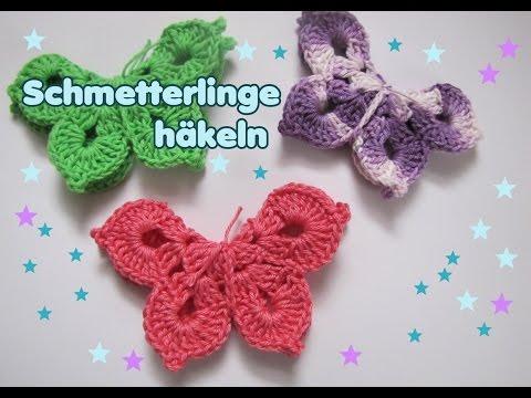 3 D Schmetterling Häkelanleitung - Frühlingsdeko - Самые лучшие видео