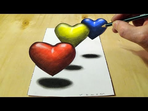 Coloring Hearts For Children - 3D Trick Art Coloring Page For Kids - By Vamos