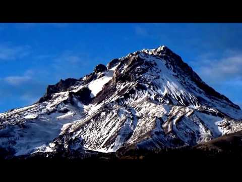 11,000 ft high Mt Hood in Oregon Cascade Volcanic Arc/ range - Eastern approach (11-clips)