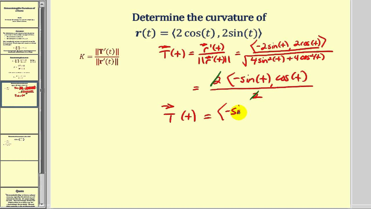Determining Curvature of a Curve Defined by a Vector Valued Function