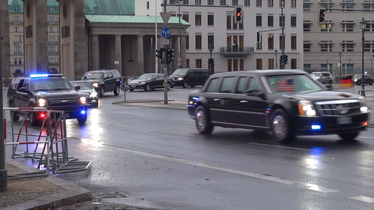 US President Barack Obama Convoy Berlin 17.11.2016 - YouTube
