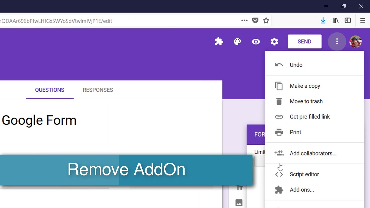 How To Add And Remove Addon In Google Form Youtube