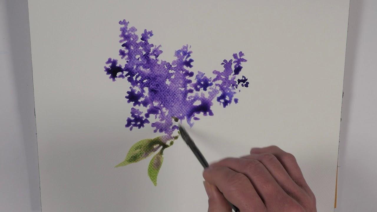 Une Branche De Lilas A L Aquarelle Watercolor Tutorial Youtube