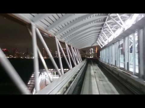 Tokyo Yurikamome train from Toyosu to Shimbashi 14.6.2016 night time