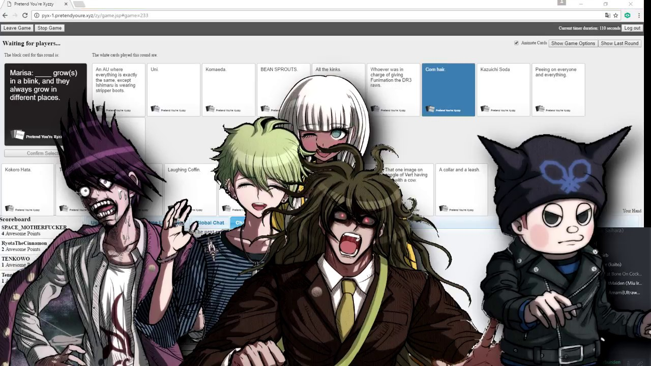 [new danganronpa v3 fandub cast] Playing Cards against humanity #8; PANTA IS BLOOD!