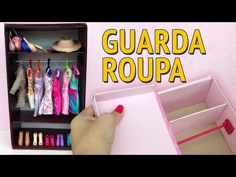 Guarda Roupa e Closet para Barbie feito com Caixa de Sapato! Como fazer!