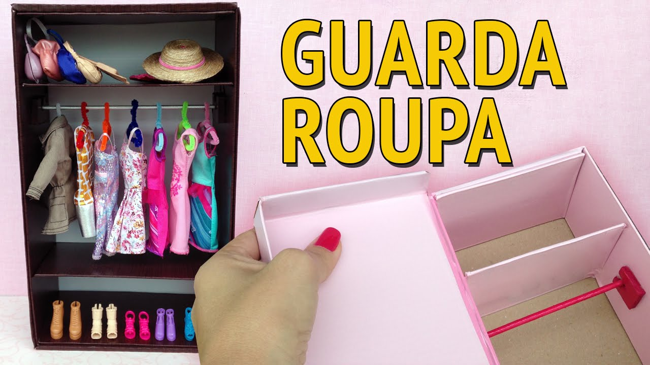 9f9014a6f3 Guarda Roupa e Closet para Barbie feito com Caixa de Sapato! Como fazer! -  YouTube