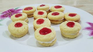 Without oven Cream Filling Jam Cookies /cream Filling jam sandwich by kitchen with Fatima