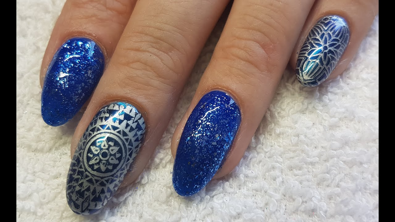 Acrylic Nails Navy Mandala Inspired Nail Design - Acrylic Nails Navy Mandala Inspired Nail Design - YouTube