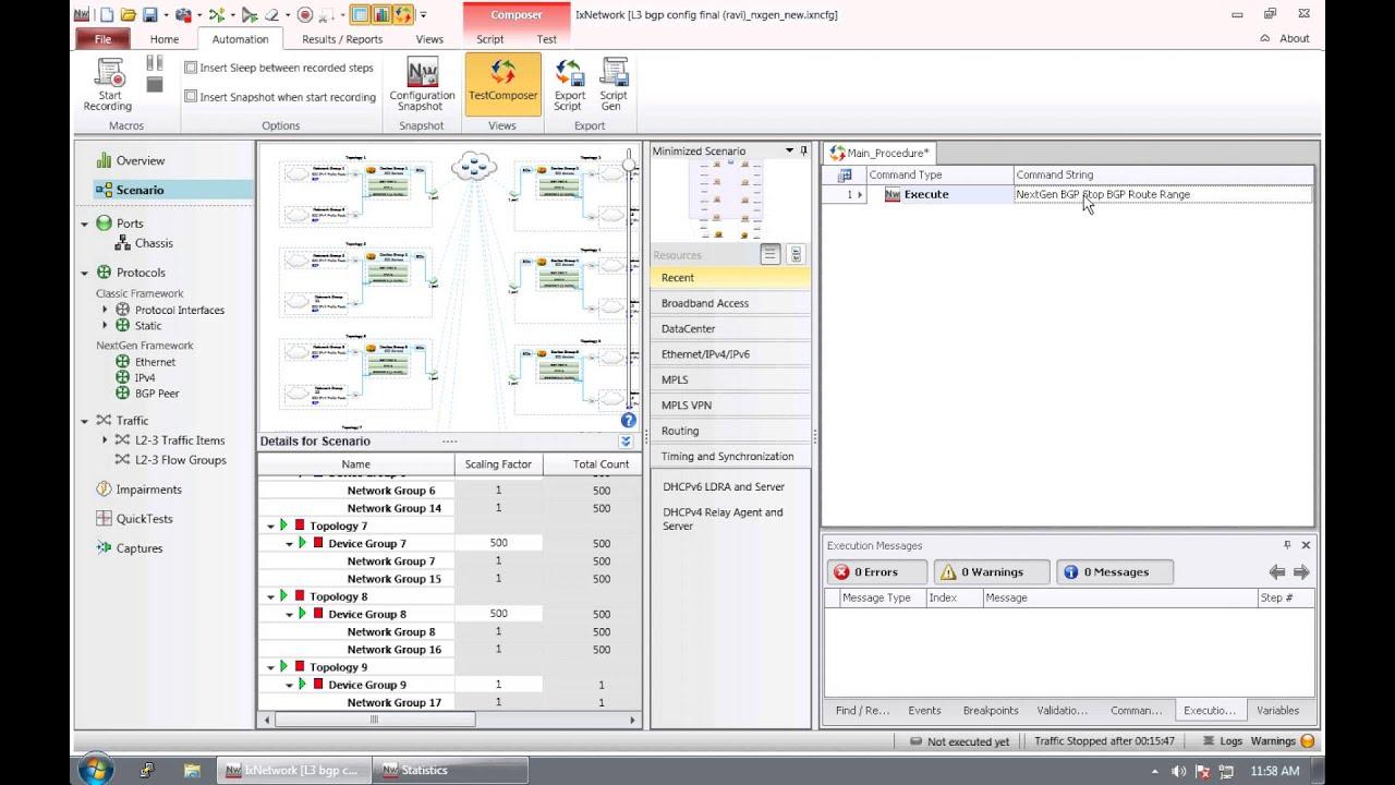 Writing a script on IXIA using the TestComposer GUI