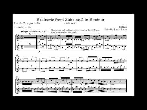 [Play along] SLOW TEMPO - Badinerie in B minor Bach BWV1067 [Sheet music]
