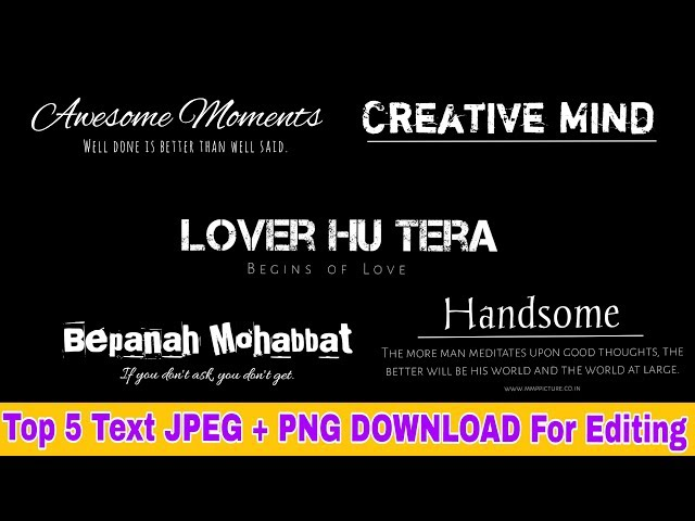 Download top 5 Text jpeg + PNG format for editing by mmp picture