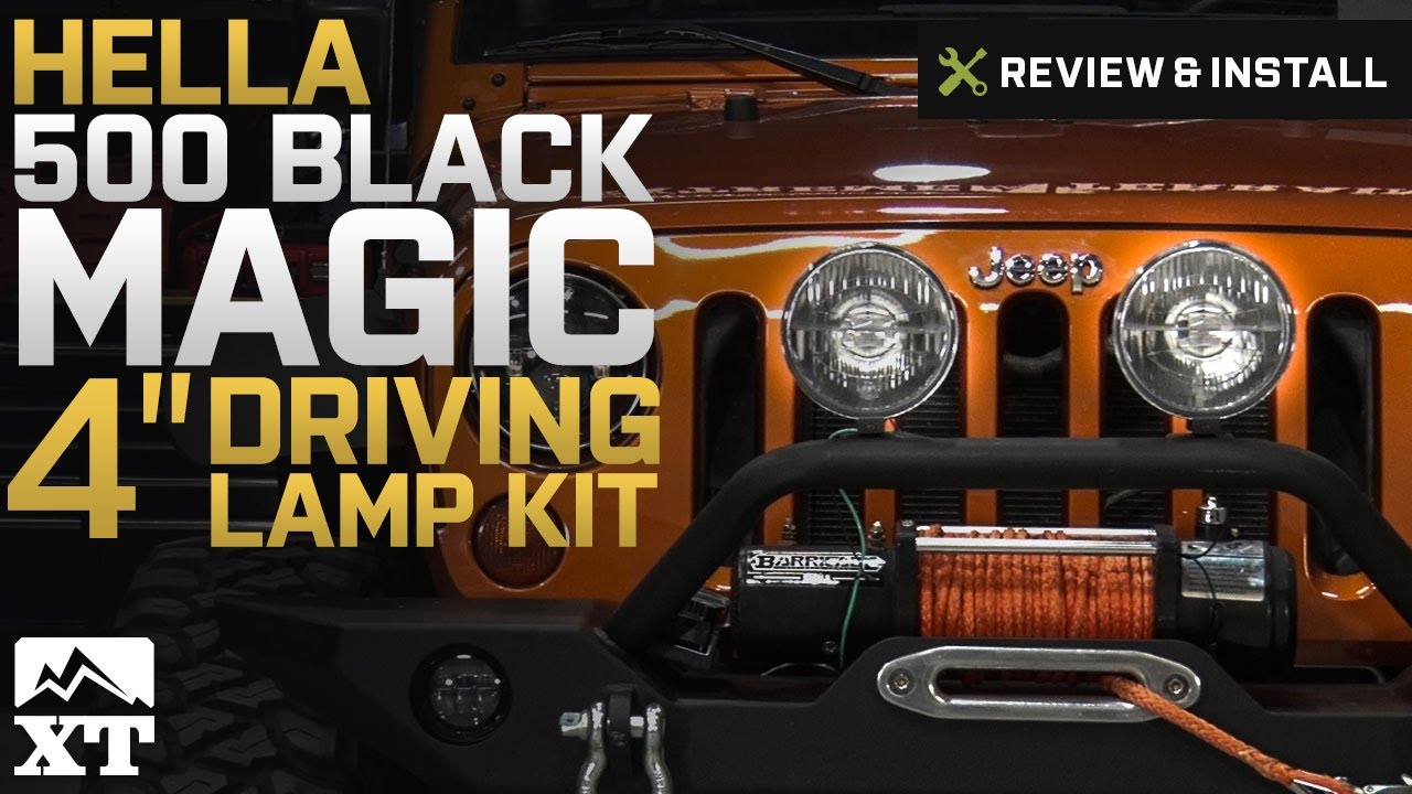 jeep wrangler hella 500 black magic driving lamp kit 87 17 wrangler yj tj jk review install [ 1280 x 720 Pixel ]