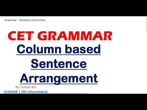CET Grammar Column based Sentence Arrangement