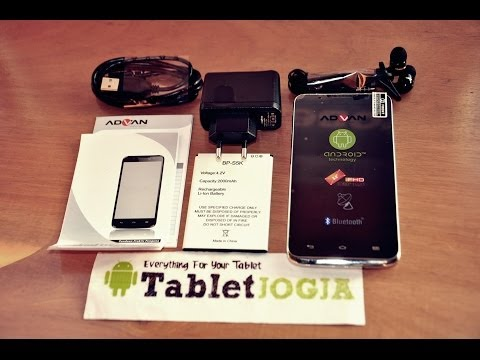 "Advan S5K Smartphone 5"" Quadcore Vandroid JellyBean Review | UnBoxing #TabletJogja"