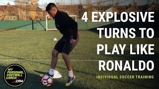 Individual Soccer Training - 4 explosive turns to play like Ronaldo