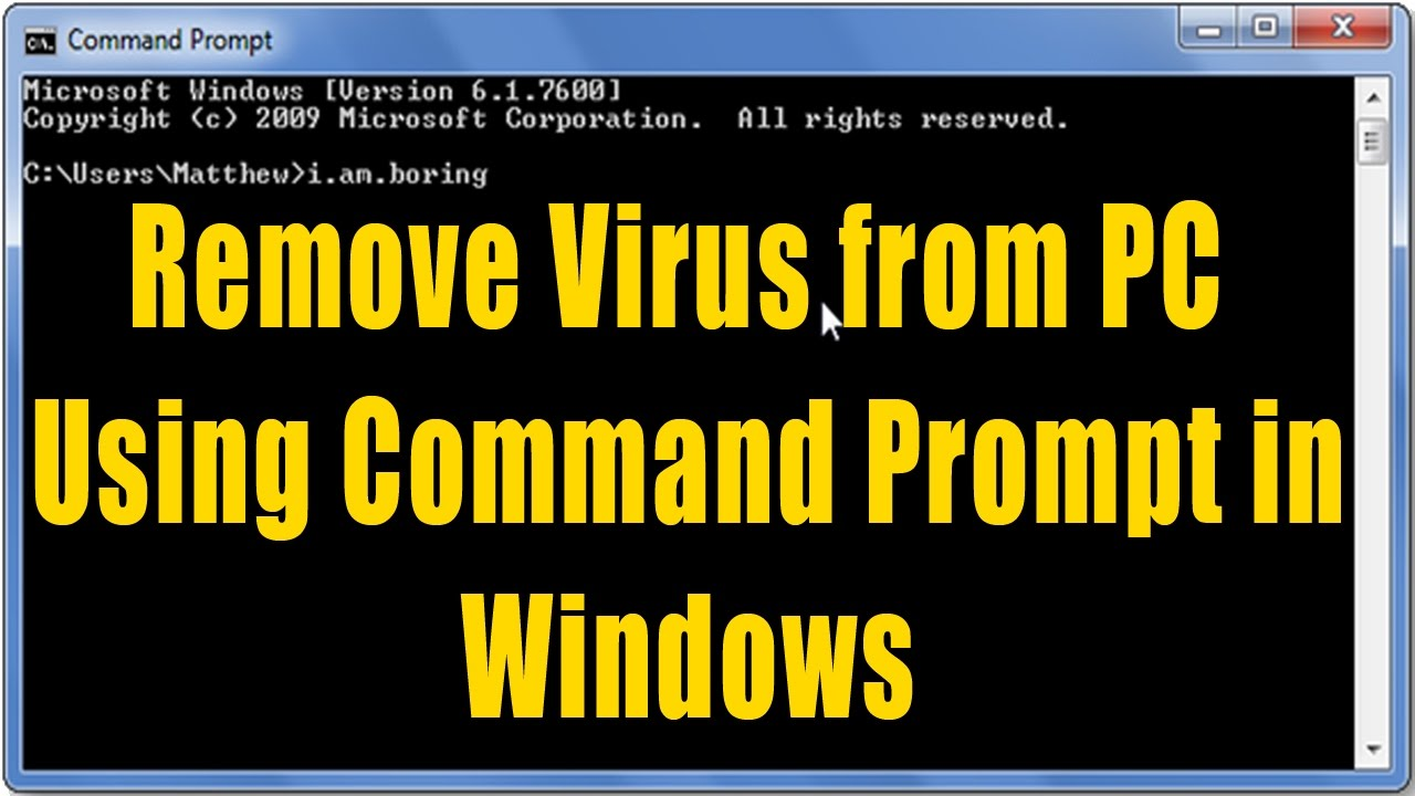 how to remove virus from pc using command prompt in windows in urdu hindi tutorial