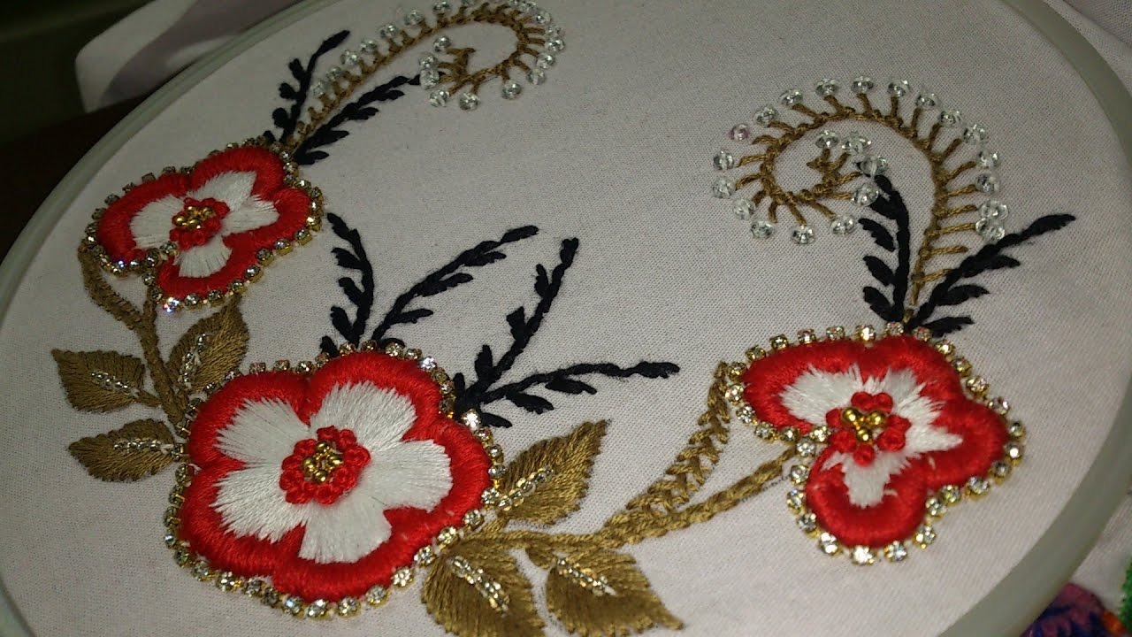 Simple hand embroidery designs for tablecloth - Hand Embroidery Carding Satin Stitch With Decoration For Dresses Sarees Blouses And Ghagras