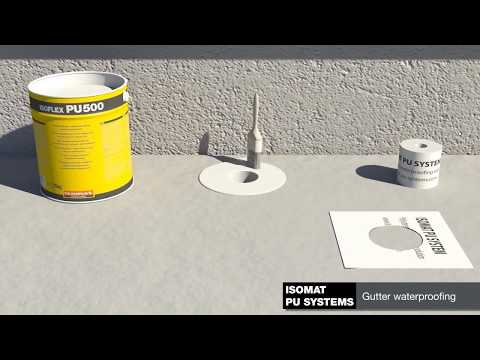 Application of the polyurethane waterproofing membrane ISOFLEX-PU 500 on flat roofs